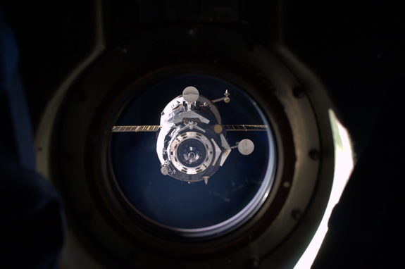 What a departing Progress spacecraft looks like in our rearview mirror