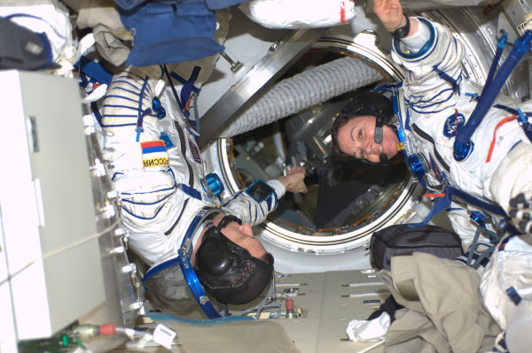 Dima, Cady and Paolo (not shown) practicing for their return to Earth aboard the same Soyuz spacecraft that brought them to space.