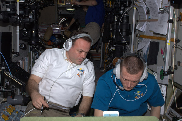 Dima + I supporting today's docking of Space Shuttle Endeavour + the crew of #STS134 #FromSpace #NASA #ISS><br><i> <a href=