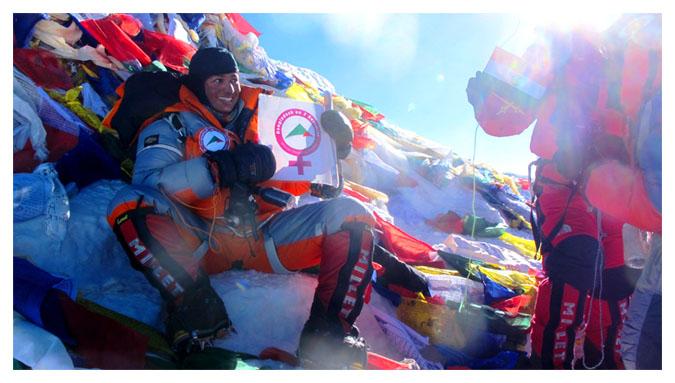 Wasfia Nazreen on Mt. Everest
